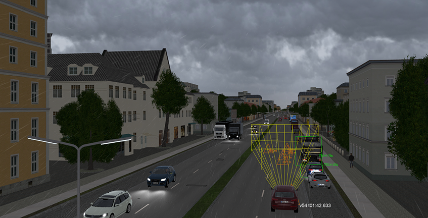 VIRES VTD photorealistic AD rendering of a German street scene on a rainy day