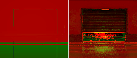 Comparing Basic LiDAR representation of a shop front (left) with PBR LiDAR representation (right)
